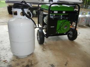 A generator running on propane