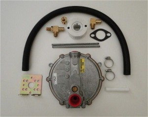 A Tri-Fuel Kit for converting a generator to run on gasoline, propane and natural gas
